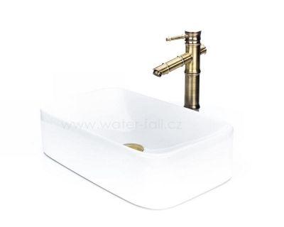 Keramický umyvadlovy set na desku, umyvadlo na desku, bronzová baterie Bamboo