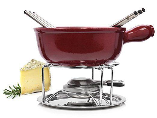 Emile Henry Käsefondue Set 9 teilig | Beinhaltet Caquelon, Rechaud, Brenner und Fonduegabeln | Genießen Sie Ihr Käsefondue in Gesellschaft mit Freunden und der Familie
