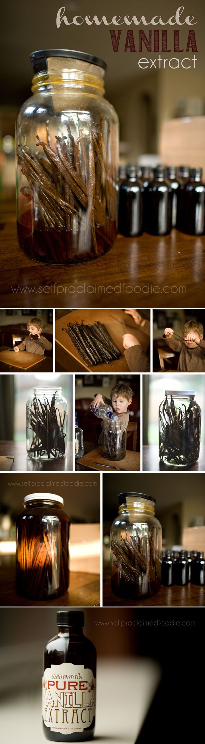 Making your own homemade vanilla extract is not only easy to do, but the vanilla you extract smells and tastes wonderful and the beans can still be used once you're done!