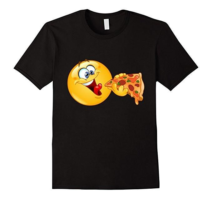 Women's Men's Emoji Emoticon Eating Pizza - Pizza Emoji T-Shirt