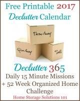Free printable 2017 declutter calendar
