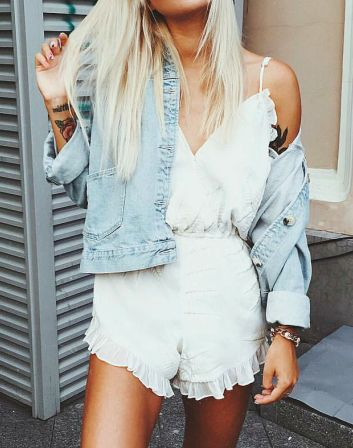 white ruffle romper + denim jacket