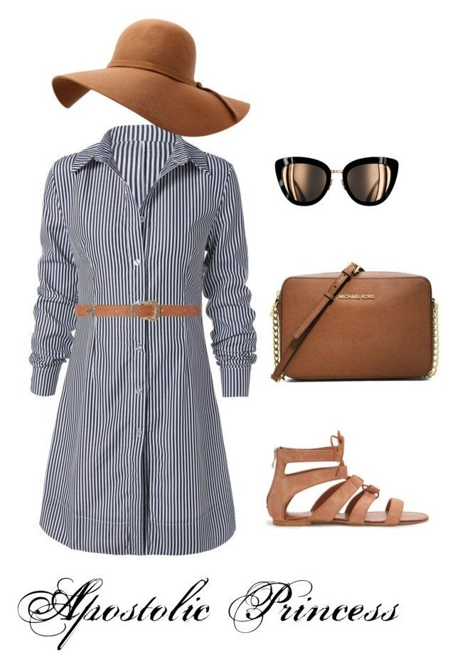 """Tan and Stripes"" by apostolicprincess on Polyvore featuring Dorothy Perkins and MICHAEL Michael Kors"