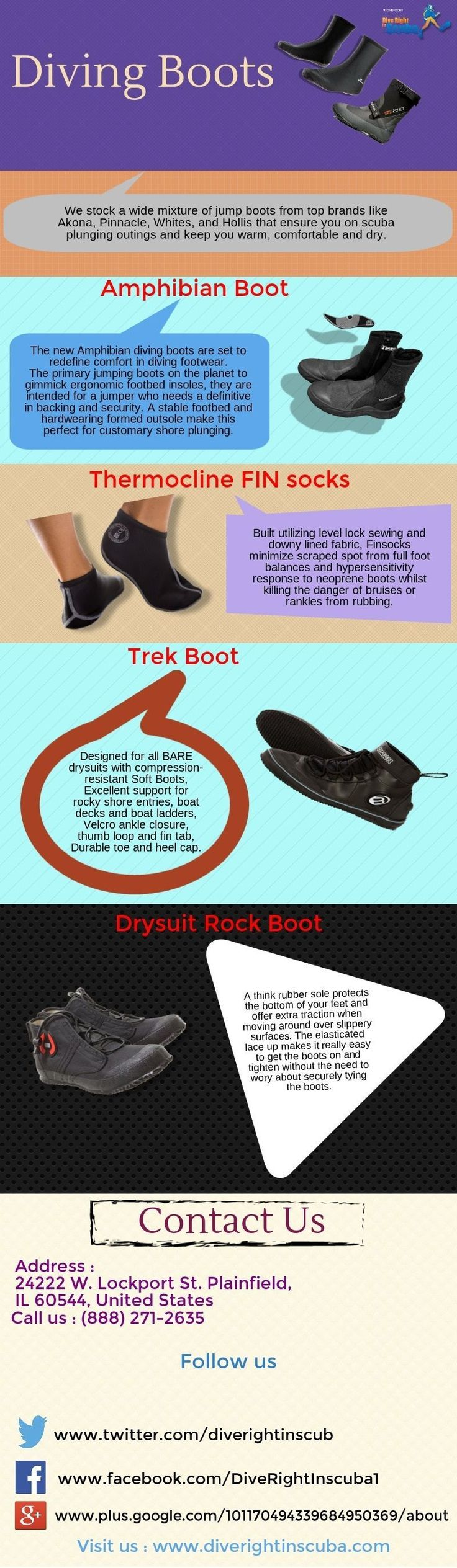We stock a wide variety of dive boots from top brands like Akona, Pinnacle, Whites, and Hollis that protect you on scuba diving trips and keep you warm, comfortable and dry. #ScubaDivingInfographicsandQuotes