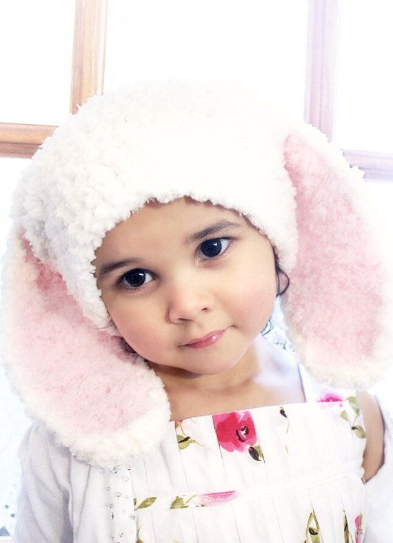 Cream and hot pink baby Easter bunny ears hat. Handmade with love by Babamoon - Size 12 to 24m - can be made in other colours and sizes!