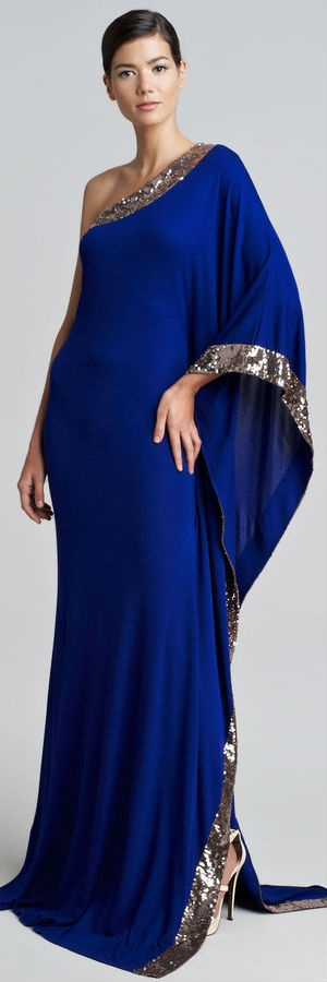 Roberto Cavalli One-Shoulder Sequined Gown in Cobalt Blue