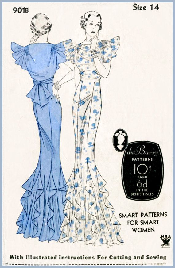 1930s 30s vintage evening gown sewing pattern cocktail dress frock bust 32 b32 repro