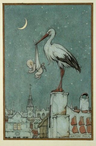 When I was a child (in Europe), I was told that the stork delivered babies to people's homes.
