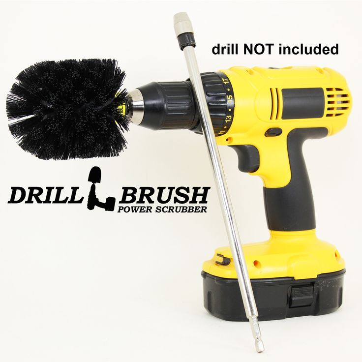 Drill Powered Nylon Bristle Cleaning Brush 12 Inch Chrome Extension Kit