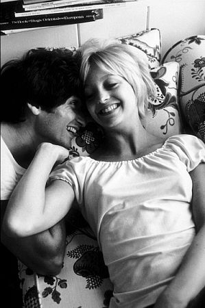 Goldie Hawn and her husband, Gus Trikonis, at home, 1969.