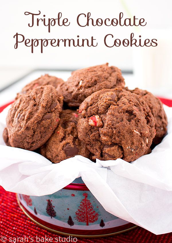 Triple Chocolate Peppermint Cookies – soft, chewy, generously chocolate cookies with chocolate, chocolate, dark chocolate chips AND peppermint crunch chips.