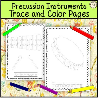 Percussion+Instruments+Trace+and+Color+Pages+from+AMStudio+on+TeachersNotebook.com+-++(14+pages)++-+This+file+(in+PDF+form)+contains+14+Percussion+Musical+Instruments+trace+and+coloring+pages.+Each+page+contains+an+instrument+picture+to+trace+and+color+and+the+name+of+the+instrument.+