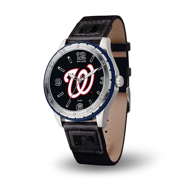 Rico MLB Team Logo Players' Series Embossed Strap Sports Watch - Washington Nationals