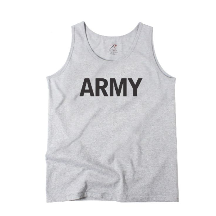 Grey Physical Training Marines Workout Tank Top-This US Army PT Tank Top features a heavyweight poly/cotton material and is available up to size 2XL.
