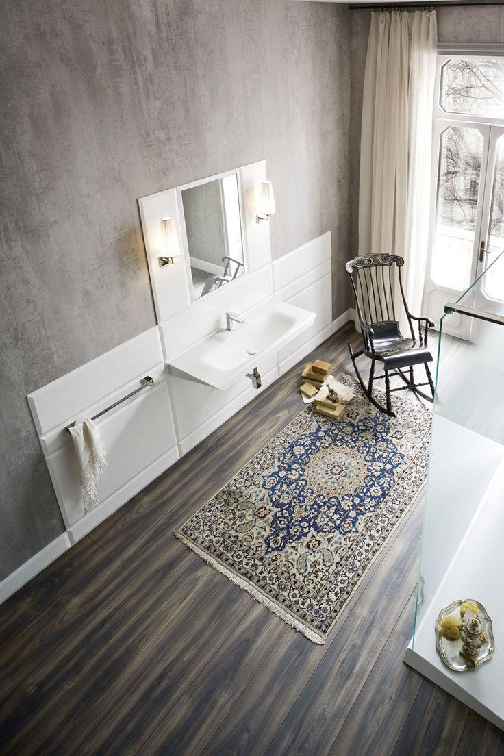 Corian® #bathroom furniture set WARP by Rexa Design | #design Carlo Dal Bianco; podłoga i dywan!