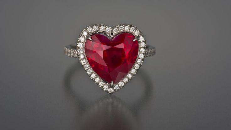 Heart shape Burmese ruby ring, 8.01ct set in platinum with diamonds. Courtesy of Jan Goodman Co.