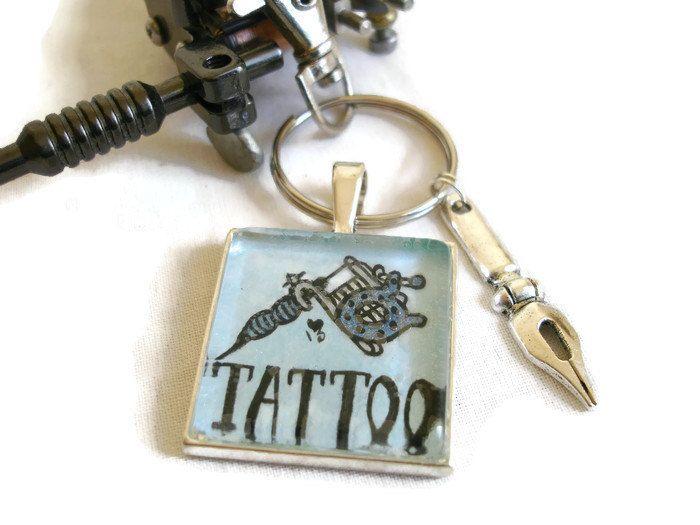 Tattoo Machine Art Cameo Key Ring Mans Silver Keychain Biker Rocker Goth Punk Style Mans Key chain Gift for Him Blue Tattoo Machine Pen Tip by Tatt2edRoZe on Etsy
