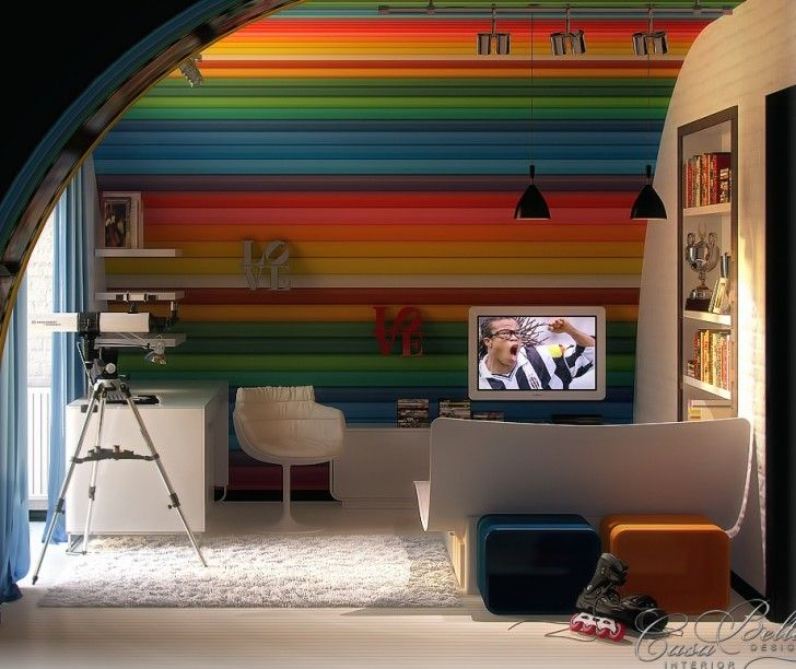 Kid Room, Rainbow Ceiling White Fur Rug Swivel Armchair Glass Door Headboard Stainless Steel Concrete Lamps Blue Draw Curtain Brick Wall Desk Bookcase And Black Pendant Lamps ~ Playful Kid Room Color Schemes Enlivening a Childish Interior Comfort
