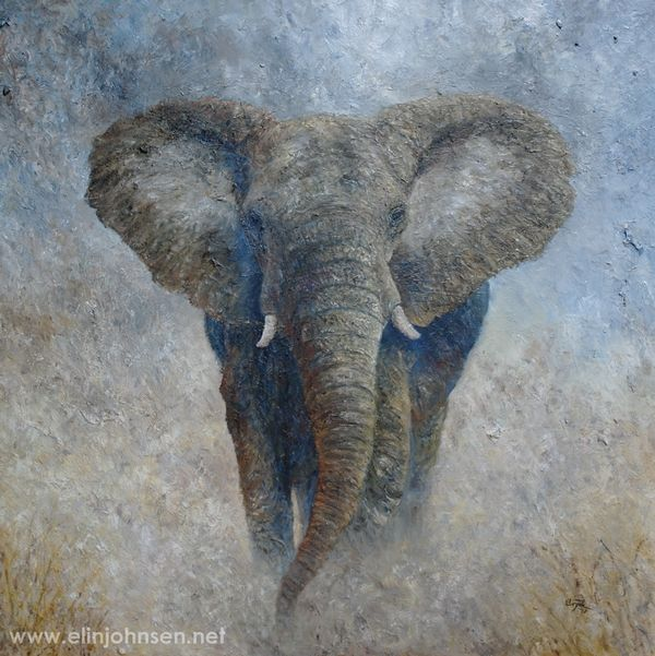 Elephant 2 (commission). Oil on canvas 2017 by Elin Johnsen. Original painting size: 70×70cm. #africa #africanelephant #africanwildlife #animal #animalart #animals #elephant #elephants #mammal #nature #oilpainting #painting #wildlife #wildlifeart