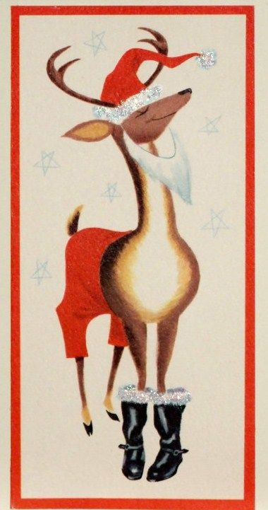 1960's Retro Christmas Card ~ Reindeer in Santa costume, boots, and beard