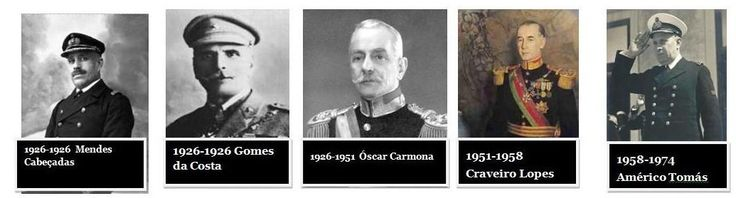 Presidentes da República Portuguesa - Estado Novo: Mendes Cabeçadas (1883-1965) 9º Pres.; Gomes da Costa (1863-1929) 10º Pres.; Óscar Carmona (1869-1951) 11º Pres.; Craveiro Lopes (1894-1964) 12º Pres.; Américo Tomaz (1894-1964) 13º Pres.