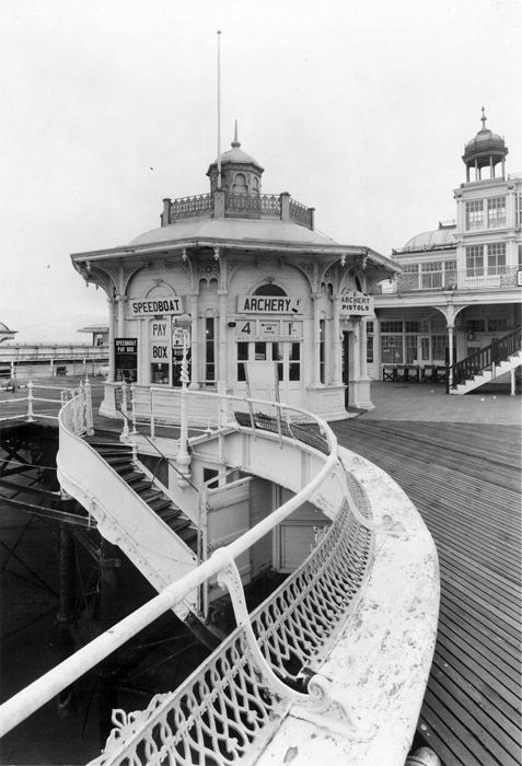Archive black and white photograph of the West Pier, Brighton before it fell into ruin. This is how it looked when I took my daughters to Peter Pans paddling pool, she's 40 next month, where have those years gone.!!!