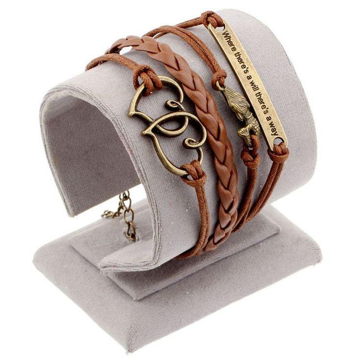Hot men and women jewelry love owl charm bracelets anchor leather bracelet best friend friendship bracelets & bangles