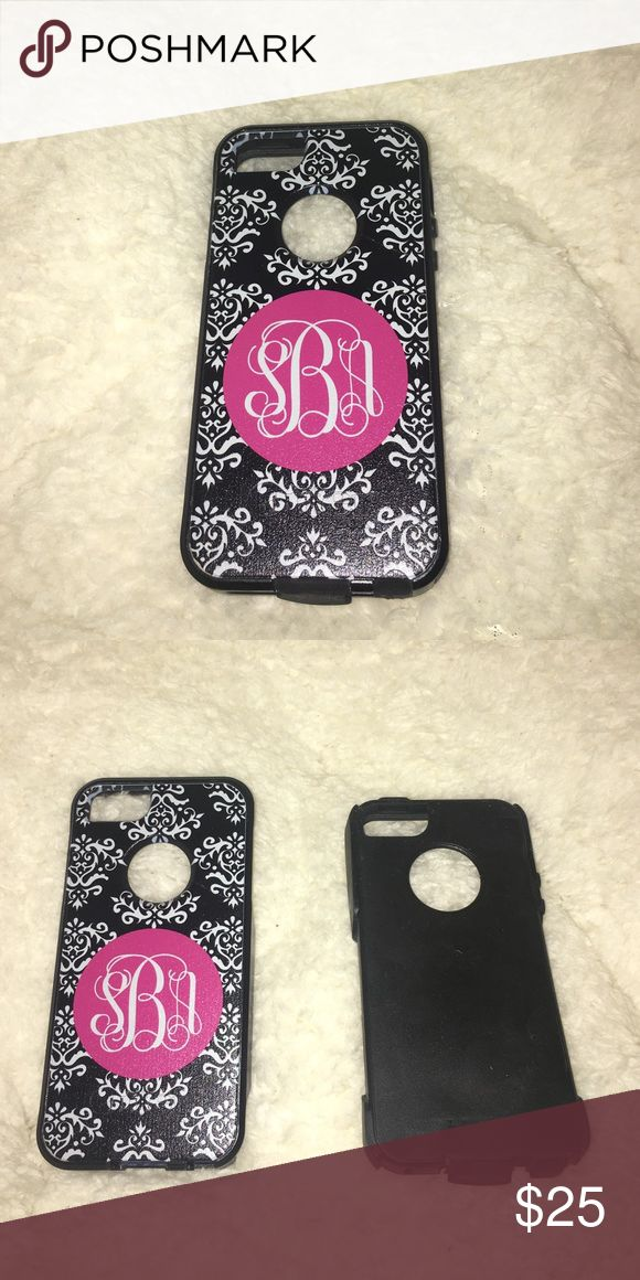 iPhone 5 or 5s Otter Box phone case (monogrammed) The initials on the phone case are first name S last name B middle name A. There is light wear on phone case but no broken plastic or rubber. OtterBox Accessories Phone Cases
