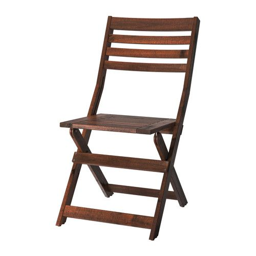 ÄPPLARÖ  Folding chair, brown  $34.99	  Article Number:   102.085.37  The finish is extra durable and able to withstand outdoor use for a longer period before it must be re-glazed.