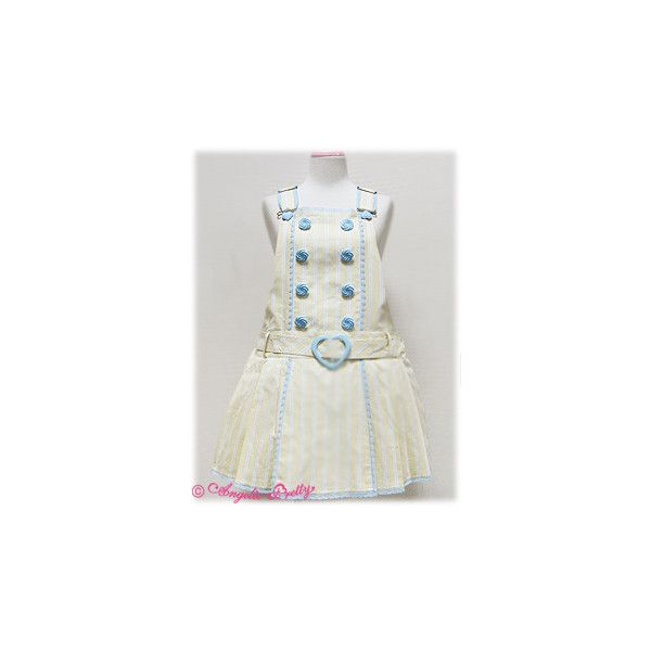 Striped Pleated Salopette ❤ liked on Polyvore featuring angelic pretty, dresses and salopette