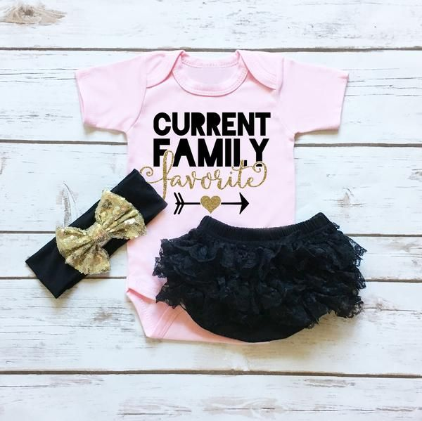 Current Family Favorite Baby Girl Boutique Outfit. Soft Pink Onesie with matching ruffle bottom black lace diaper cover. Add the matching sequin gold and black headband.