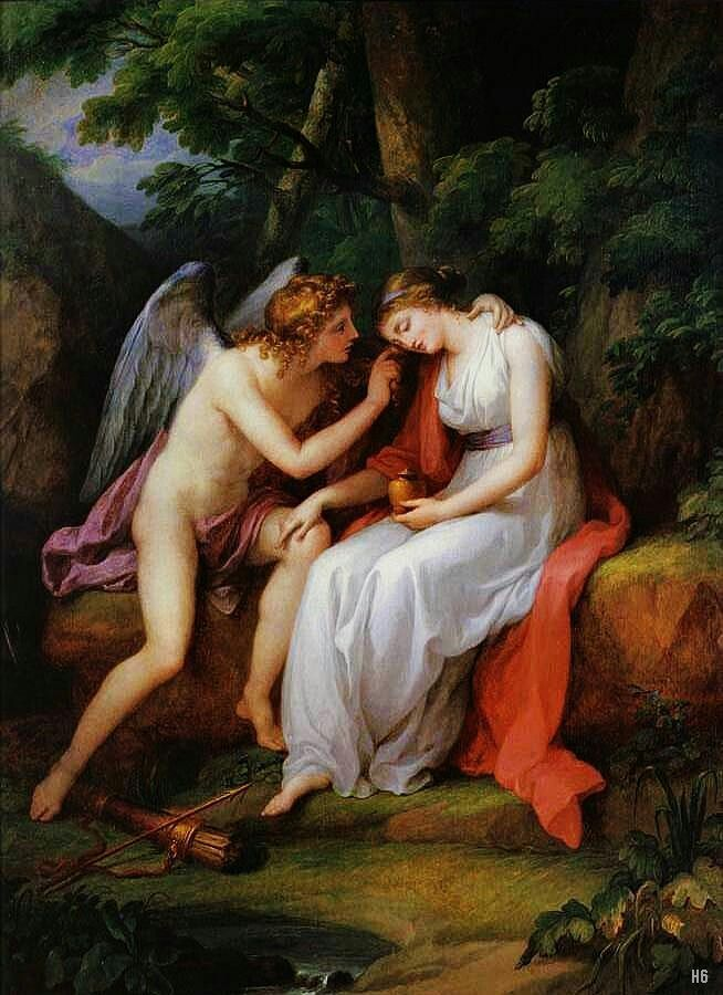 Cupid and Psyche.   Angelica Kauffman. Swiss 1741-1807. oil/canvas.
