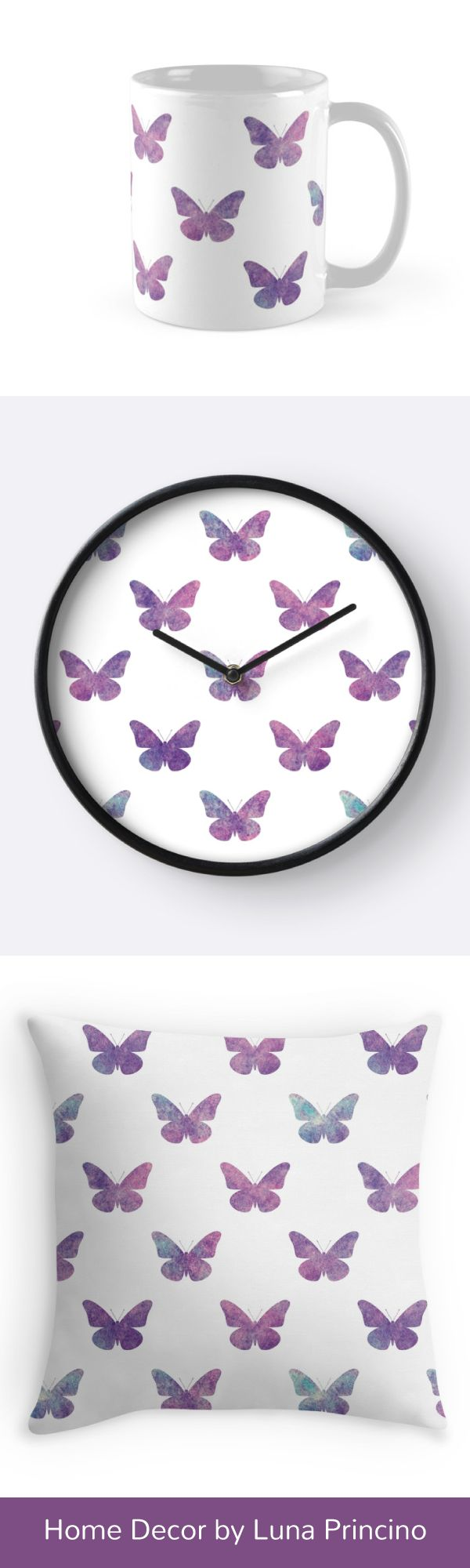 Home decor with beautiful purple watercolor butterflies pattern by Luna Princino. Check it out on Redbubble! #lunaprincino #design #home #decor #throw #pillow #mug #mugs #clocks #gift #idea #butterfly #butterflies #purple #violet #nebula #pretty #dreamy #fantasy #art #graphic #watercolor #print #prints #redbubble #beautiful #girly #pattern #animal #insect #garden #spring #summer #decorative