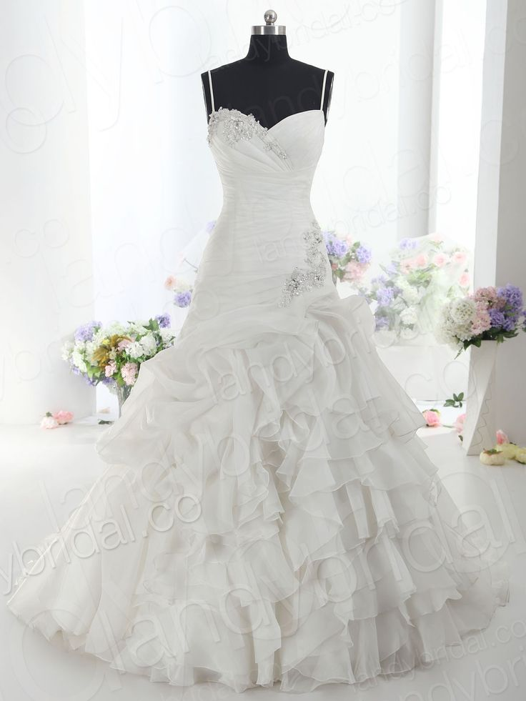 I love this dress! Not sure about the bling though...Drop Waist Spaghetti Strap Chapel Train Ivory Organza Lace Up Corset Wedding Dress Ld1099 - Evening Dresses - Special Occasion Dresses Desig...