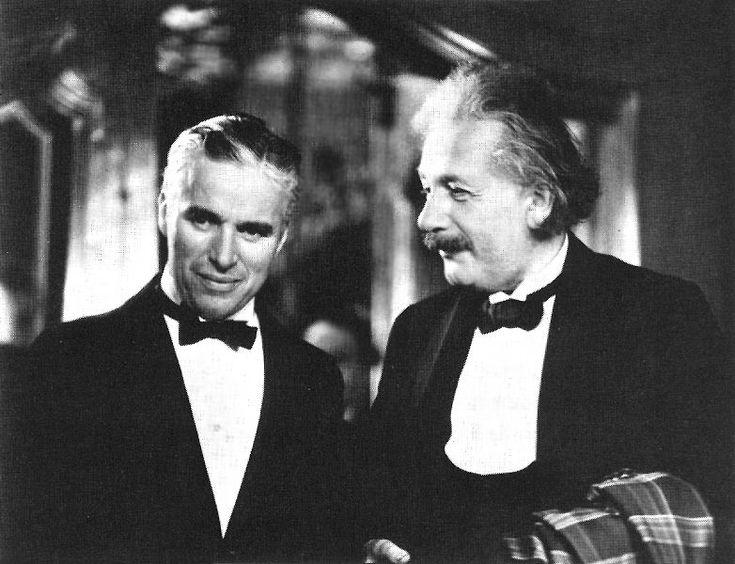 Charlie Chaplin and Albert Einstein at the premiere of CITY LIGHTS.