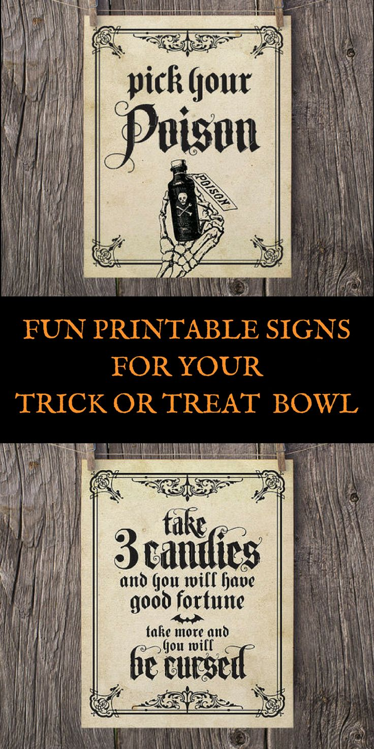 Fun printable signs for your halloween candy bowl