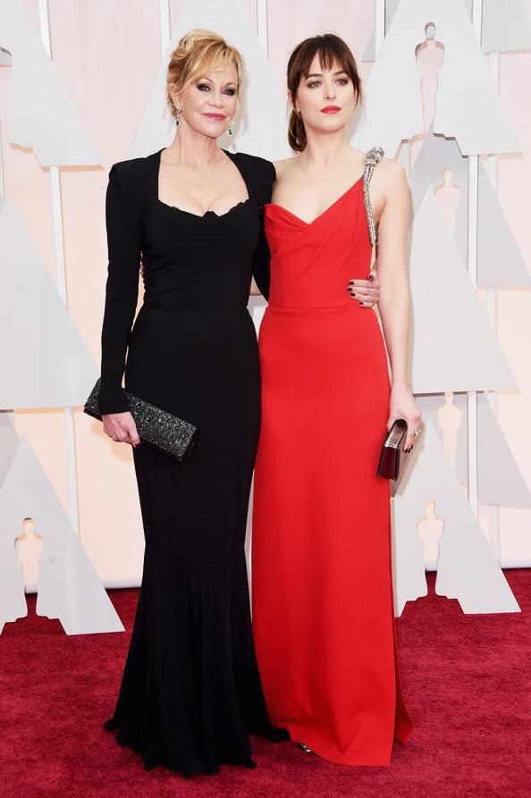 Mother-Daughter Moments on the Oscars Red Carpet  #InStyle Dakota please don't ruin yourself with plastic surgery the way your mother has.