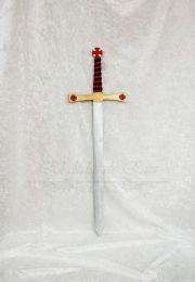 Espada medieval de madera. Hecha a mano. Madera de pino pintada. Empuñadura de polipiel. Cruces templarias de madera sobrepuesta.