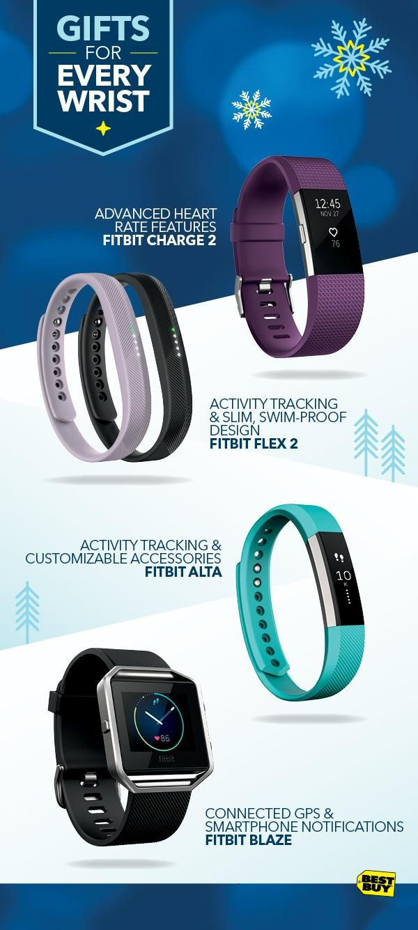 No two fitness journeys are identical. That's why Fitbit engineers devices for a range of activities and goals. The advanced fitness features of the Fitbit Charge 2 include heart rate tracking and multi-sport modes. The Fitbit Flex 2 is a swim-proof activity tracker for every day. The Fitbit Alta tracks activity and lets you customize your style with interchangeable accessory bands. The Fitbit Blaze features fitness tracking and guided workouts. Find a fit for everyone on your list at Best…