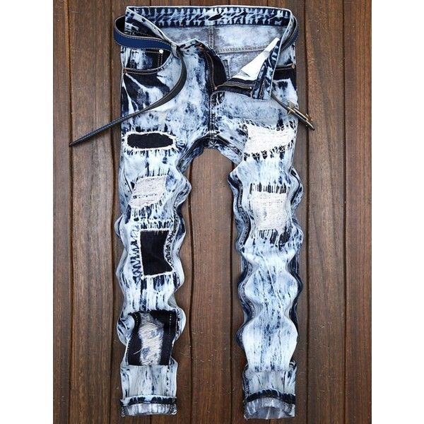 Straight Leg Destroyed Ripped Jeans (71 BAM) ❤ liked on Polyvore featuring men's fashion, men's clothing, men's jeans, mens straight leg jeans, mens destroyed jeans, mens distressed jeans, mens torn jeans and mens ripped jeans