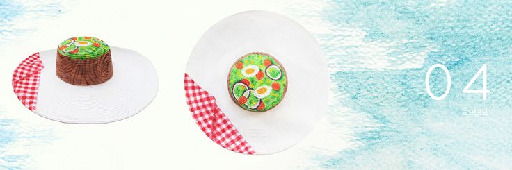 Salad Summer Food Hat Hand Painted by Philotopi - Eco Friendly Artisan Accessories. #ecofriendly #summerhat #beachhat #food #foodie #salad #vegetables #egg #colorful #cute #wood #natural #recycled #climatechange #globalwarming