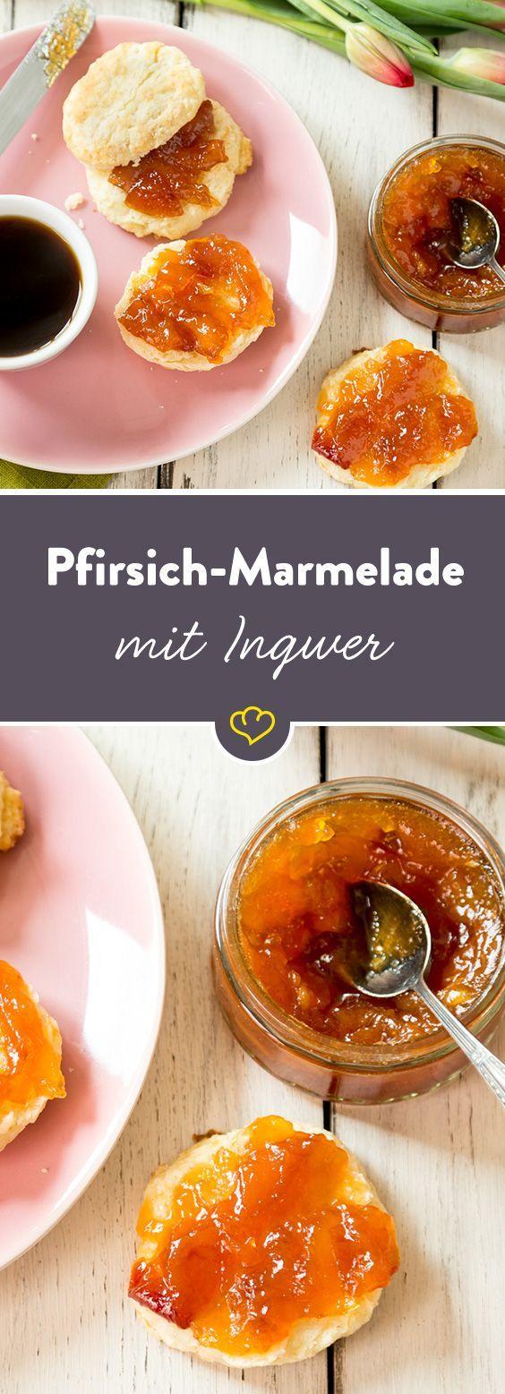 Glas auf und die fruchtige Marmelade mit der exotischen Note der Mango, der Frische des Pfirsichs und des besonderen Geschmacks der Ingwer genießen.