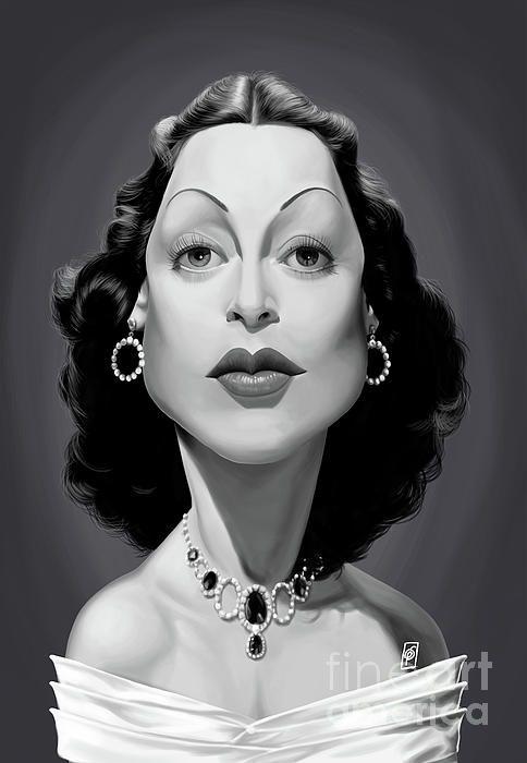 Hedy Lamarr art | decor | wall art | inspiration | caricature | home decor | idea | humor | gifts