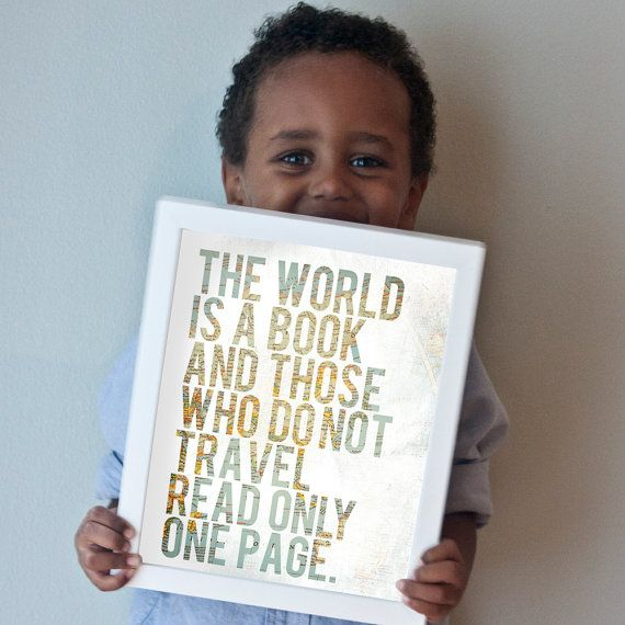 """""""The World is a Book"""" travel art print. Vintage map of Africa peeks through a white foreground. 50% of all profits go straight to orphan care ministries, missions, and adoptions: http://www.gusandlula.com/p/gus-lulas-favorite-charities.html"""