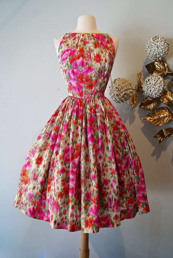 Vintage 1950's Dress 50s Silk Poppy Print Dress