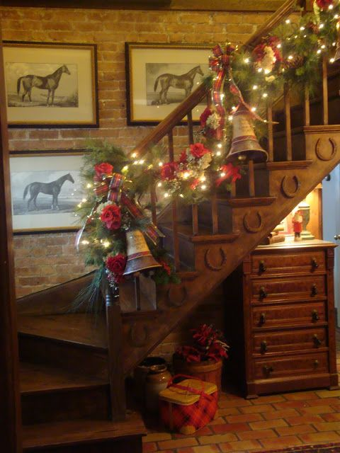 The Polohouse: Holiday Mantel and Staircase