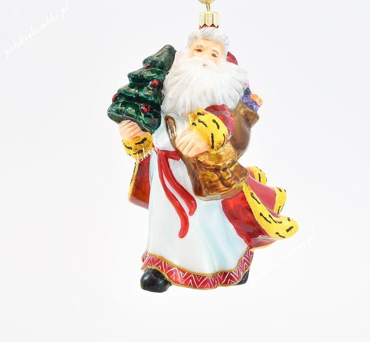 Mikołaj stojący pod wiatr - Polskie bombki ręcznie malowane - sklep z ozdobami choinkowymi Komozja Family