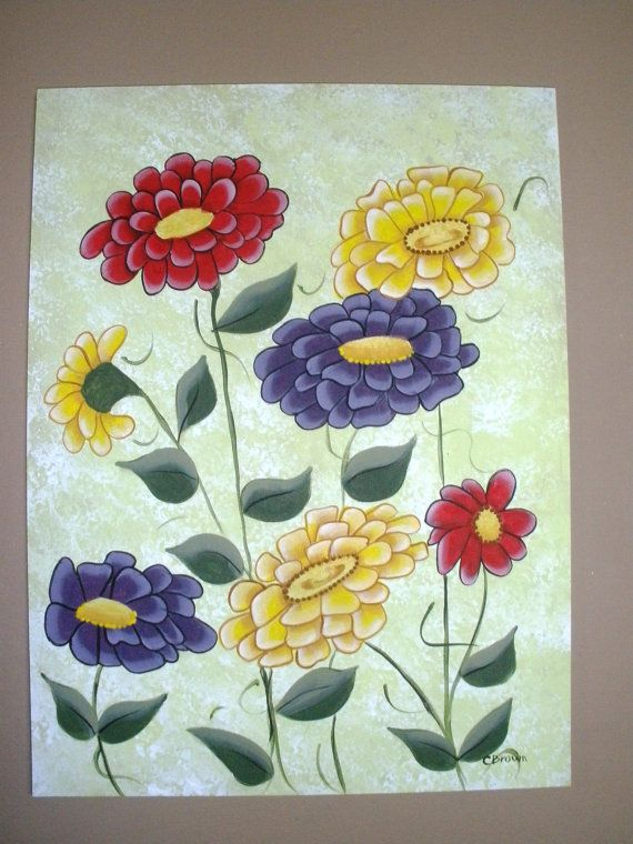 Zinnia Bouquet Original Acrylic Paintng by LeeArt on Etsy