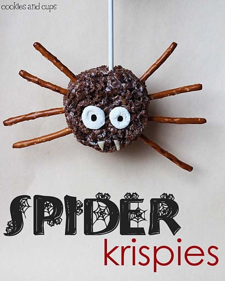 Cocoa Puff Spider ( any chocolate cereal )... use the Rice Krispie Recipe . Spread in Pan as usual then CUT OUT with a Circle Cutter ( even top of a drinking glass ) ... add pretzels for legs.. your choice of candy for eyes and fangs. Use a popsicle stick or lolly stick for handle. ( I would put the stick on the bottom of the spider .. that was it is upright when you hold it ) .