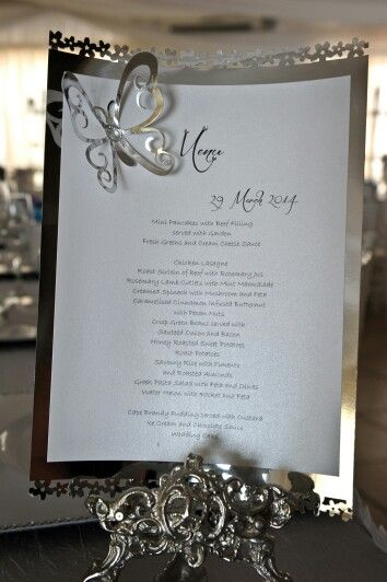 Silver butterfly menu at my wedding